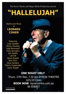 Hallelujah - Leonard Cohen Tribute Presented by Magic Media Production & Byron Theatre @ Byron Theatre | Byron Bay | New South Wales | Australia