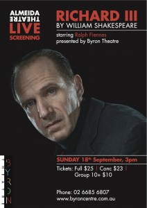 Almeida LIVE screening - Richard III by William Shakespeare, starring Ralph Fiennes, presented by Byron Theatre @ Byron Theatre