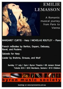 A Romantic Journey From Paris To Vienna feat. Emilie Lemasson presented by Byron Music Society @ Byron Theatre