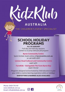 KidzKlub Summer School Holiday Program presented by Kidzklub Australia & Byron Community Centre @ Byron Community Centre Verandah Room (UPSTAIRS)