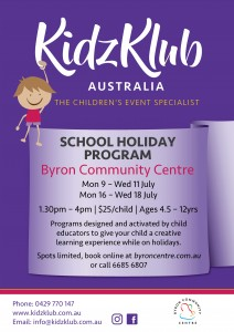 KidzKlub July School Holiday Program presented by Kidzklub Australia & Byron Community Centre @ Byron Community Centre Verandah Room (UPSTAIRS)