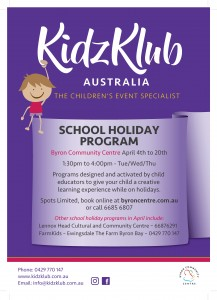 KidzKlub Easter School Holiday Program presented by Kidzklub Australia & Byron Community Centre @ Byron Community Centre Verandah Room (UPSTAIRS)