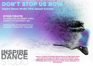 Don't Stop Us Now Presented by Inspire Dance Studio @ Byron Theatre