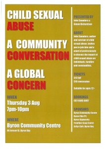 Child Sexual Abuse: A Community Conversation presented by John Saunders & Simon Richardson @ Byron Theatre