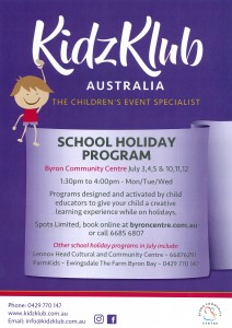 KidzKlub Winter School Holiday Program presented by Kidzklub Australia & Byron Community Centre @ Byron Community Centre Verandah Room (UPSTAIRS)