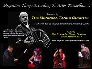 A Concert by Mendoza Tango Quartet hosted by the Byron Bay Tango Festival 2017