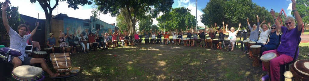 Senior Drumming in the park