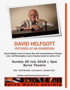 Pictures at an Exhibition – David Helfgott in Concert presented by Byron Music Society @ Byron Theatre