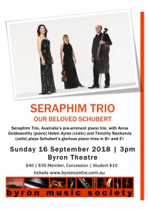 Seraphim Trio: Our Beloved Schubert presented by Byron Music Society @ Byron Theatre | Byron Bay | New South Wales | Australia
