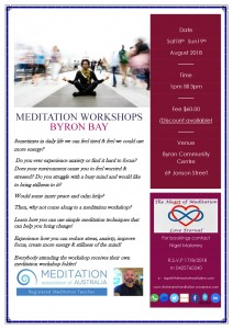 Meditation Workshop presented by The Heart of Meditation @ Byron Community Centre, Verandah Room (upstairs)