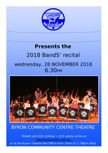 Byron Bay Public School 2018 Bands Recital presented by Byron Bay Public School @ Byron Theatre