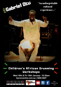 Children's African Drumming Workshop presented by Gabriel Otu @ Byron Theatre