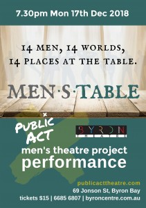 MEN.S.TABLE – Men's Theatre Project Performance presented by Public Act Theatre @ Byron Theatre