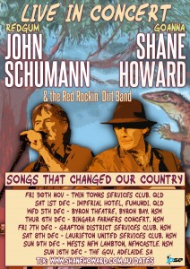 "John Schumann, Shane Howard & The Red Rockin' Dirt Band: ""Songs That Changed Our Country"" presented by JPSE Entertainment Group @ Byron Theatre"